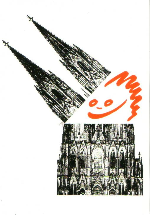 Postkarte Dom mit Gesicht