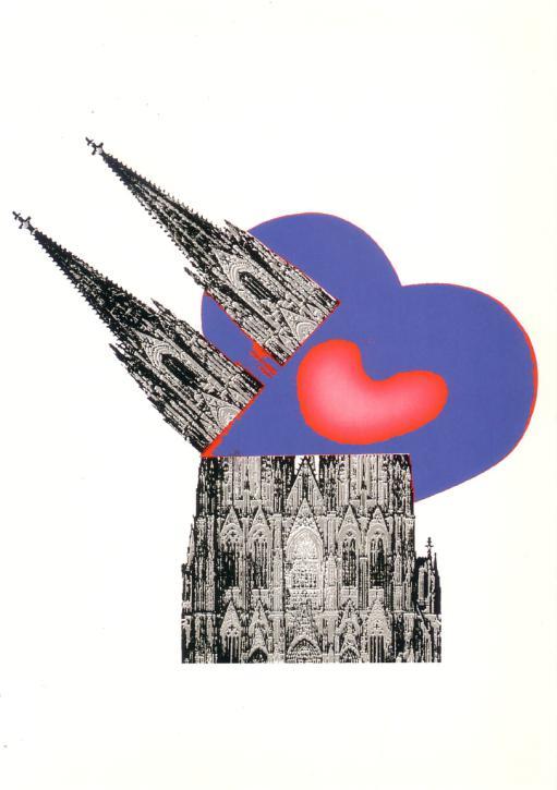 Postkarte Dom mit Herz im Hintergrund