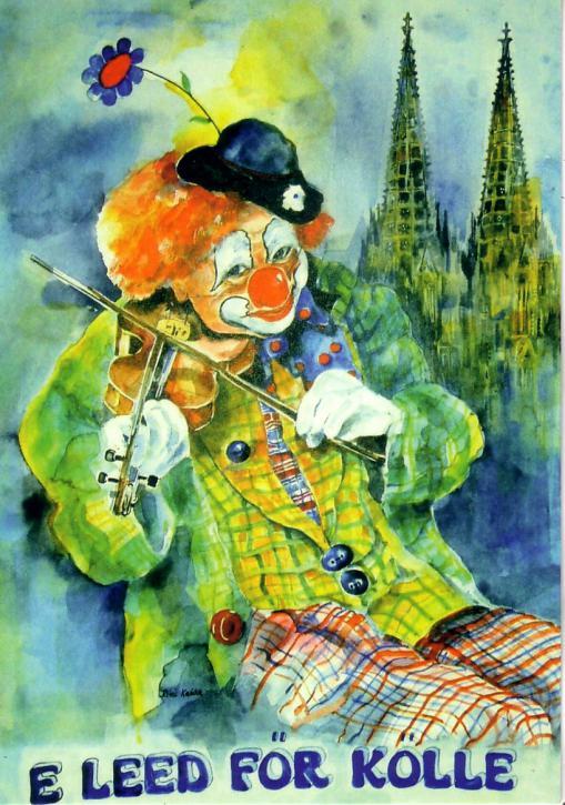 Postkarte Clown mit Geige