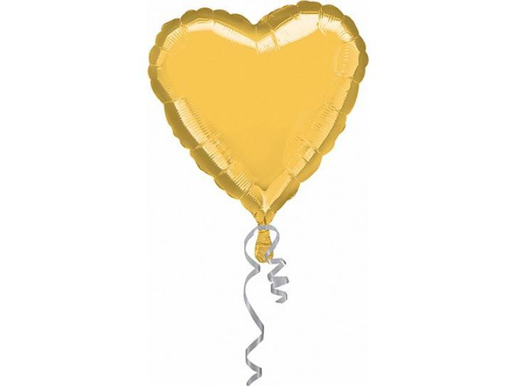 Folienballon Herz gold ca. 90 cm