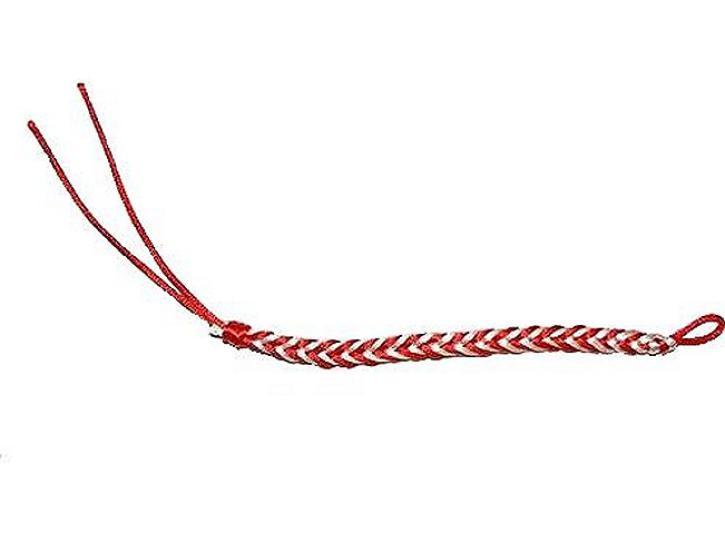 Armband geflochten weiß/rot