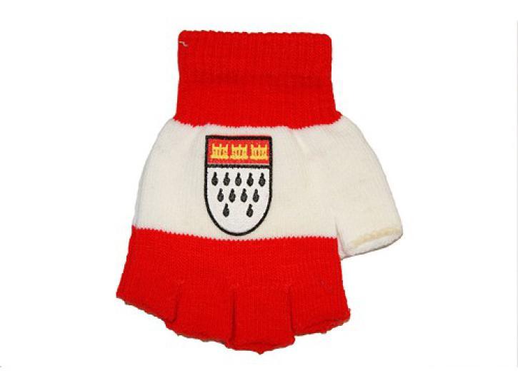 Handschuhe fingerlos rot/weiß Köln Wappen
