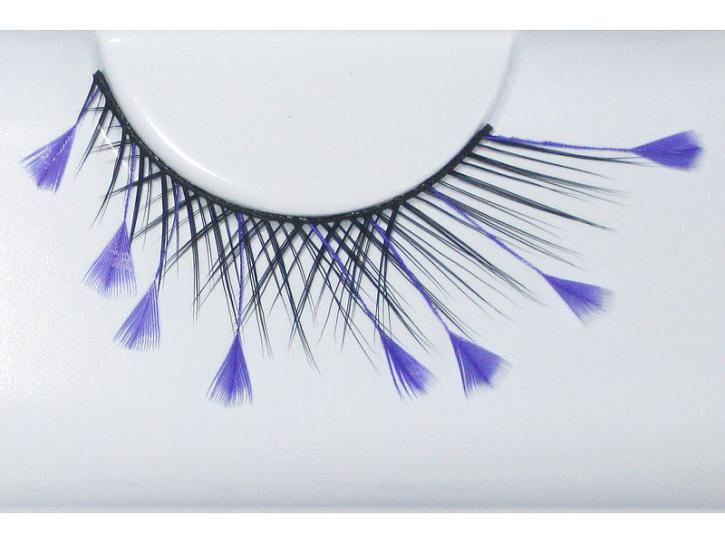 Wimpern schwarz mit lila Federn