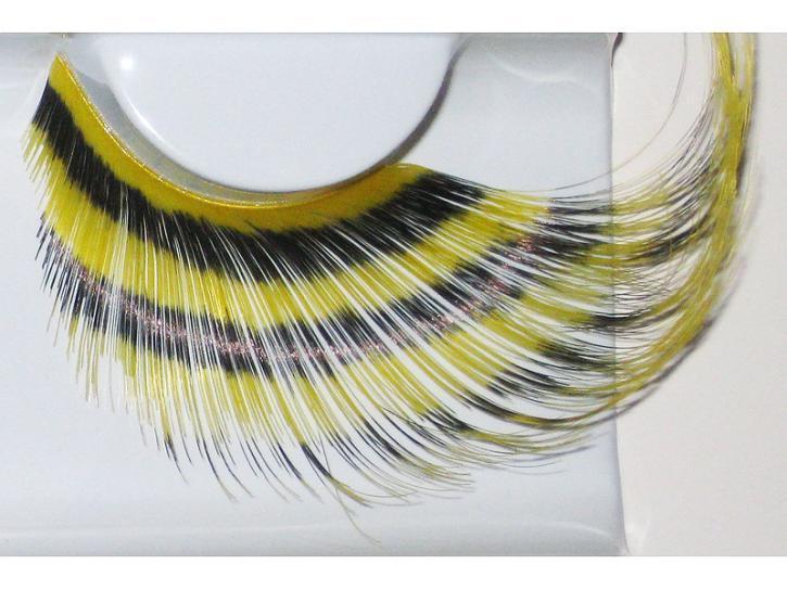 Wimpern Feder gelb mit schw. Querstreifen