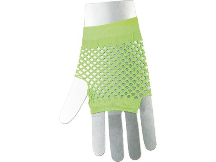 Netzhandschuhe fingerlos, kurz neongrün