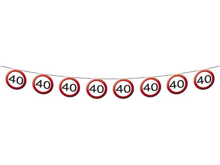 Girlande Verkehrsschild 40 12m