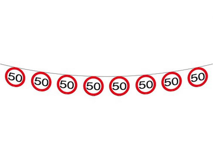 Girlande Verkehrsschild 50 12m