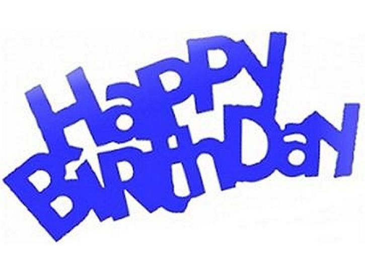 Flitter Schriftzug Happy Birthday blau