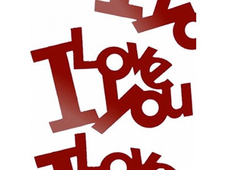 Flitter Schriftzug I LOVE YOU rot