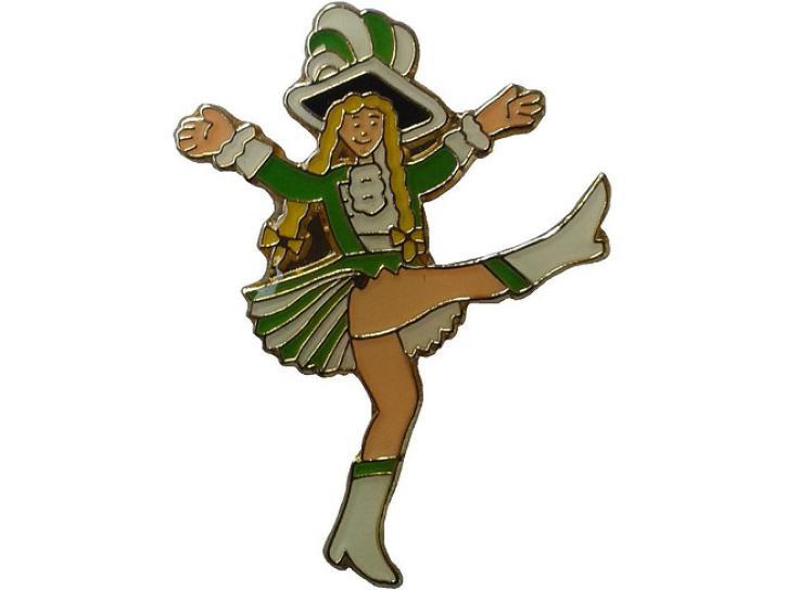 Karnevalspin Tanzmarie grün-weiß