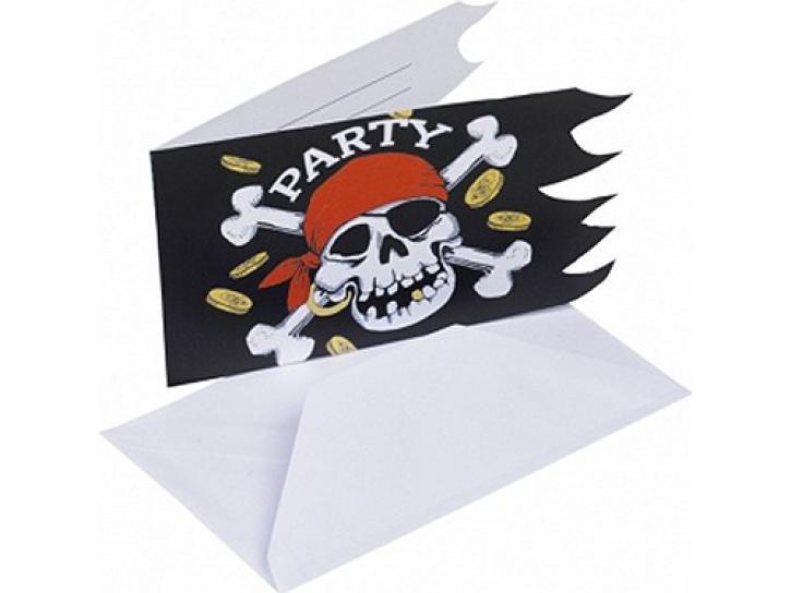 Einladungskarten Jolly Roger 6 Stk.