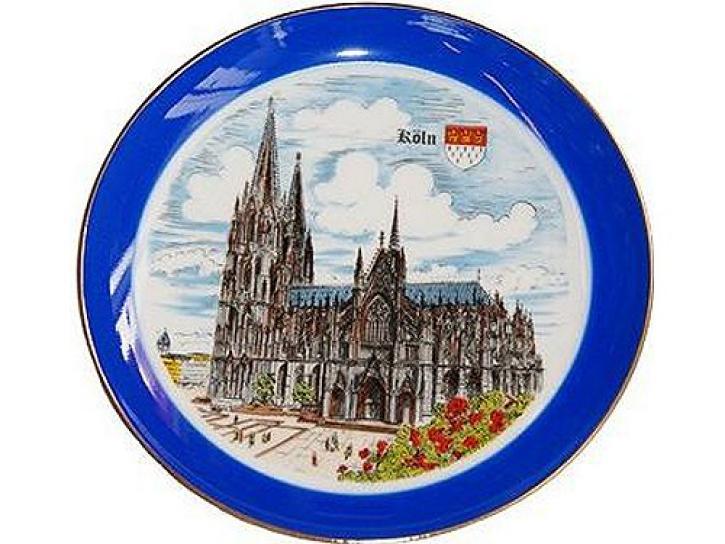 Teller Kölner Dom mit Goldrand 18,5 cm