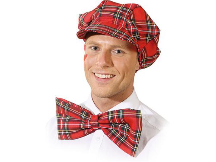 Mütze mit Schleife rot kariert