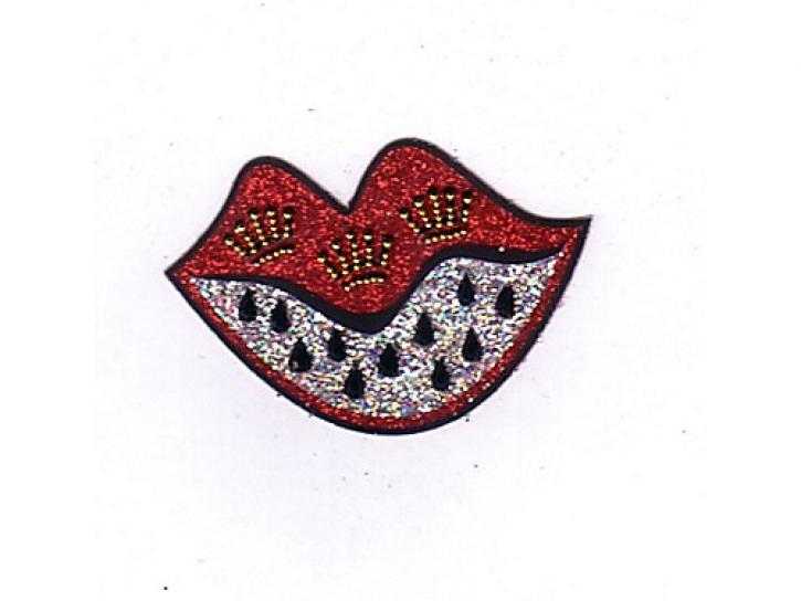 Glitzer Tattoo Wappen Lippen