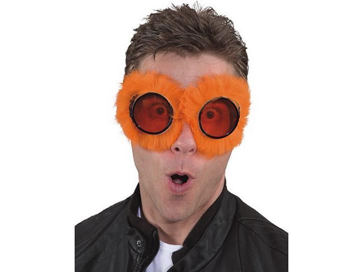 Brille mit Fell orange