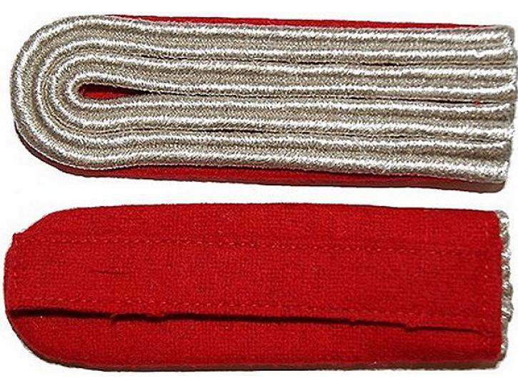 Schulterstücke rot/silber 4 Streifen