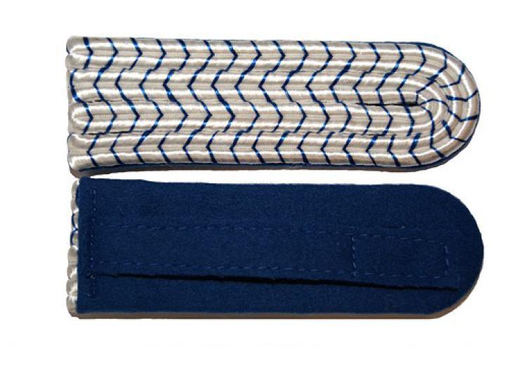 Schulterstücke 4-Streifig, weiß/blau National