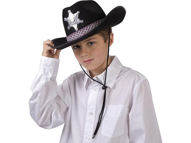 Hut Sheriff Junior für Kinder schwarz