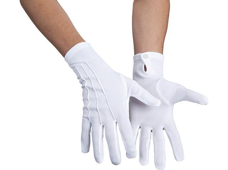 Handschuhe mit Druckknopf, weiß
