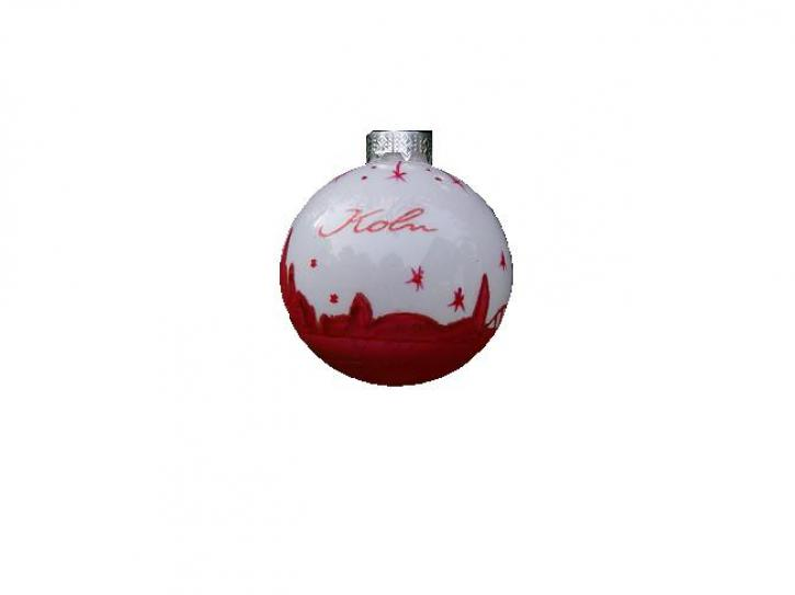 Weihnachtskugel weiß/rot