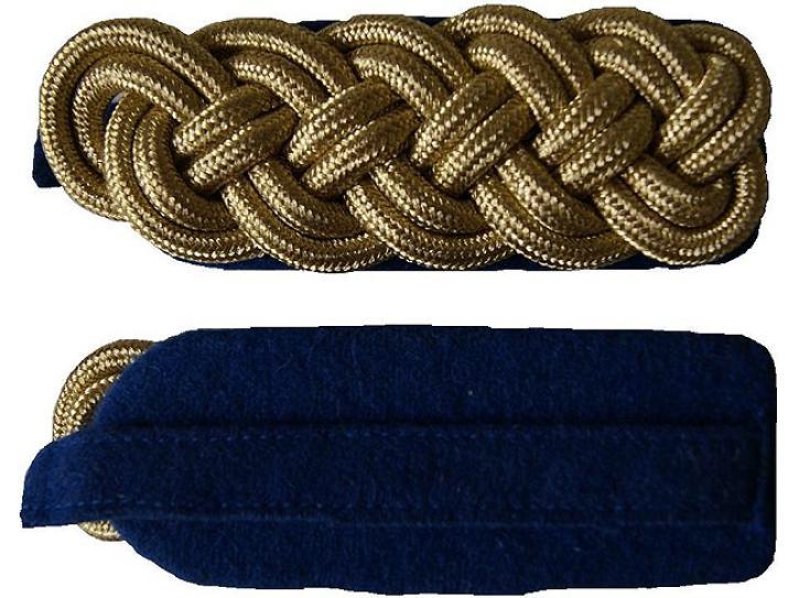 Schulterstücke blau/gold geflochten 2 Reihen