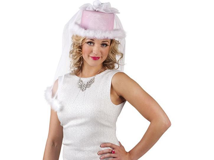 Hut Braut mit Schleier in pink