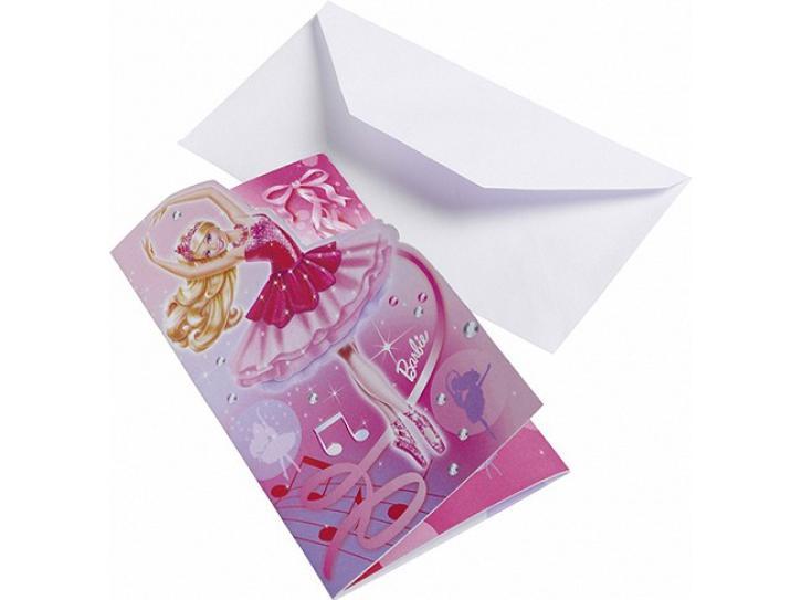 Einladungskarten Barbie 6 Stk.