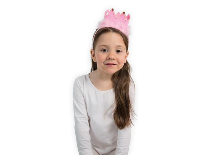 Haarreif Krone rosa mit Marabu