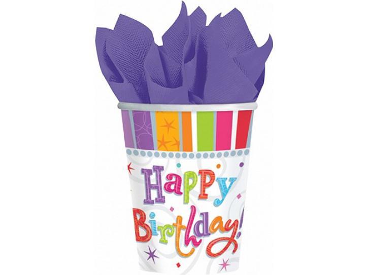 Becher radiant Happy Birthday 8 Stk.