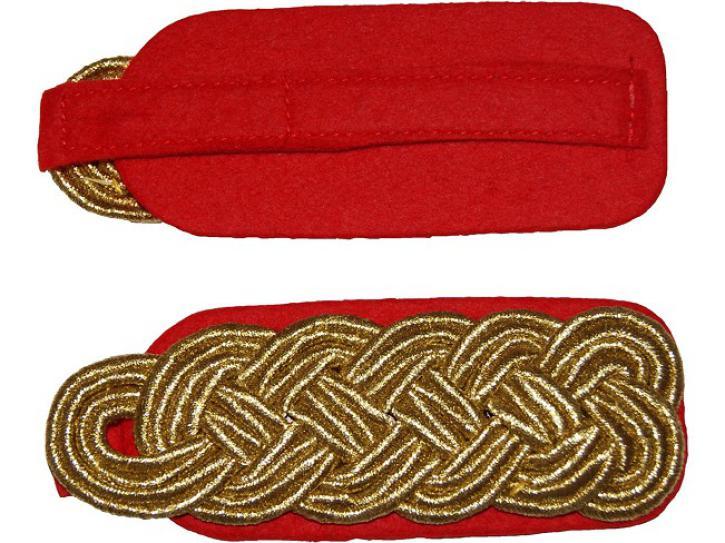 Schulterstücke rot/gold geflochten flach