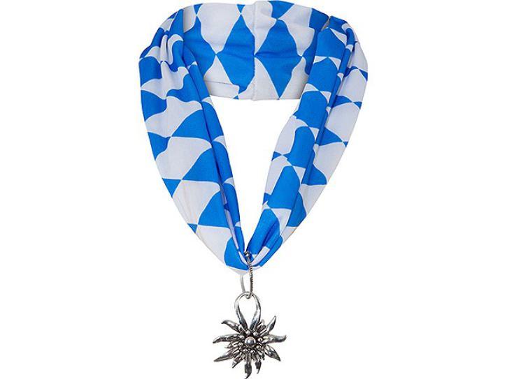 Halstuch blau/weiß mit Edelweiß