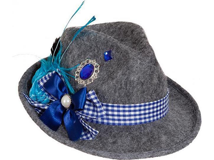 Trachtenhut grau/blau mit Federn KW 58
