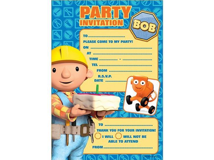 Einladungskarten Bob der Baumeister 6 Stk.