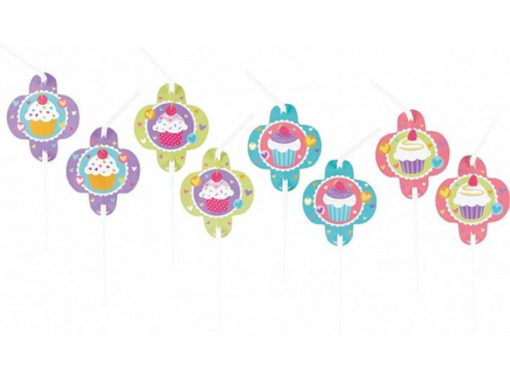 Trinkhalme Cupcake Party 8 Stk.
