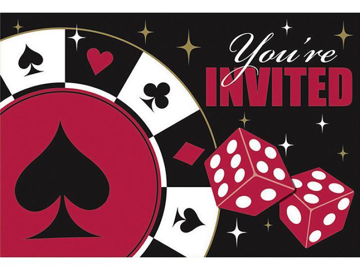 Einladungskarten Casino Poker 8 Stk.