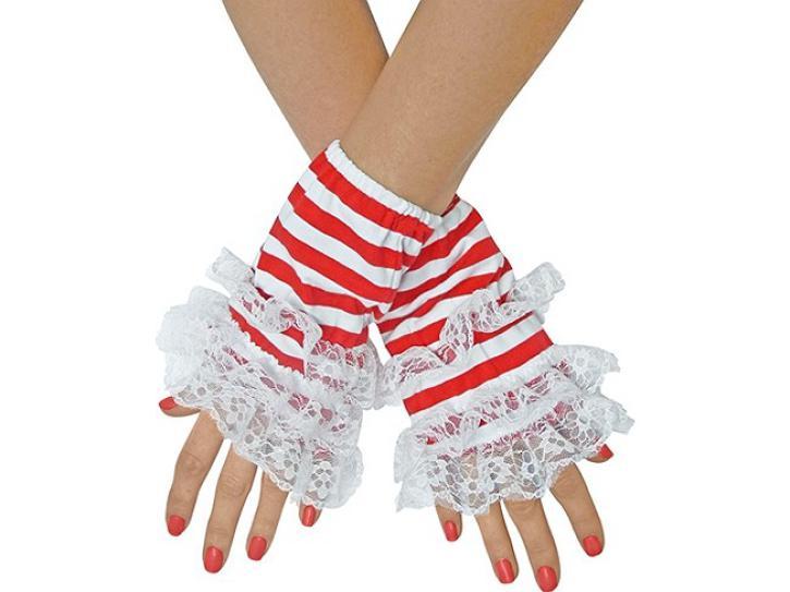 Handstulpen Ringel rot-weiß mit Spitze