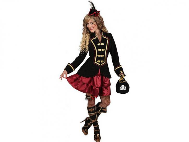 Kostüm Piratin schwarz/bordeaux Gr.34/36