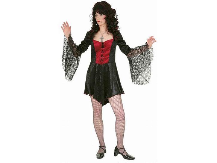 Kleid Vampir schwarz/weinrot Gr.38