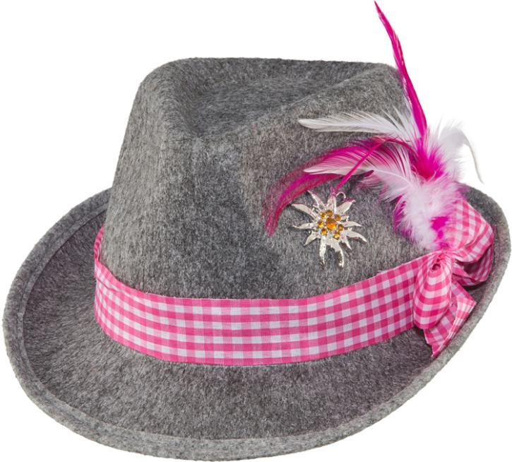 Trachtenhut grau/pink KW 58