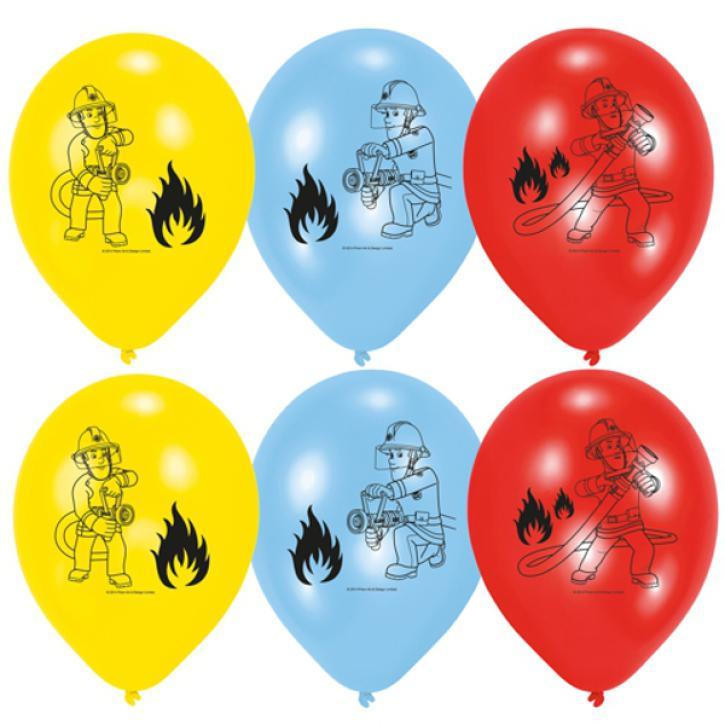 Luftballon Feuerwehrmann Sam 6 Stk.