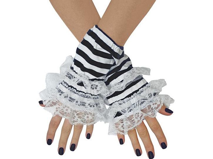 Handstulpen Ringel schwarz-weiß