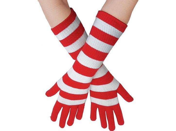 Strickhandschuhe rot/weiß lang