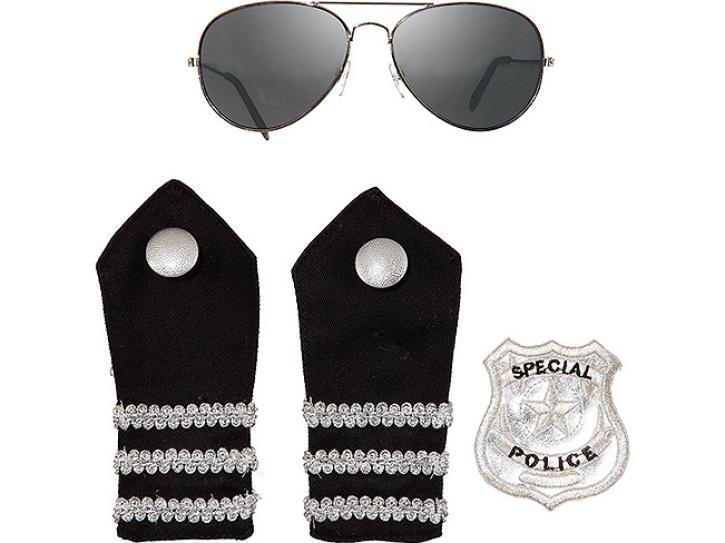 Police Set schwarz 3 tlg.