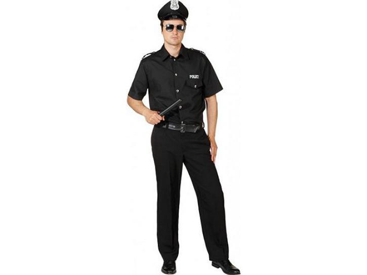 Kostüm Police Men schwarz Gr.50/52