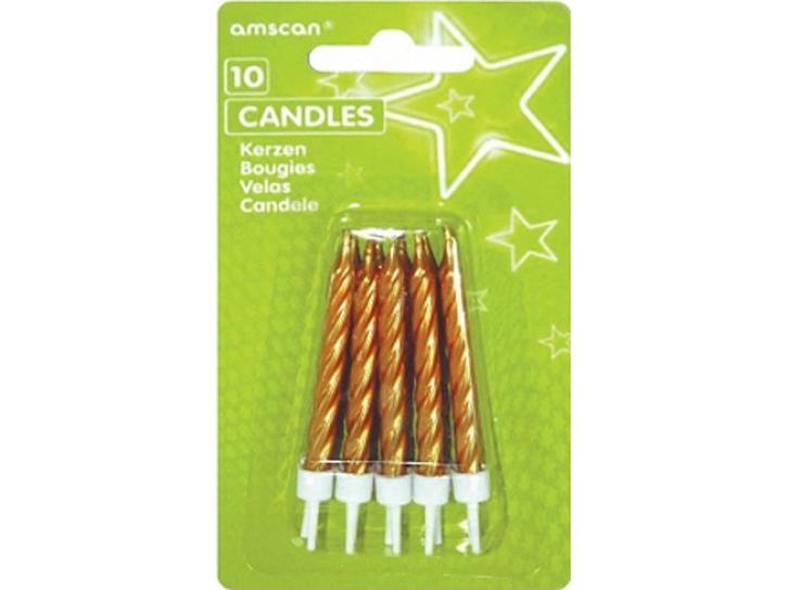 Kerzen gold mit Halter 10 Stk.