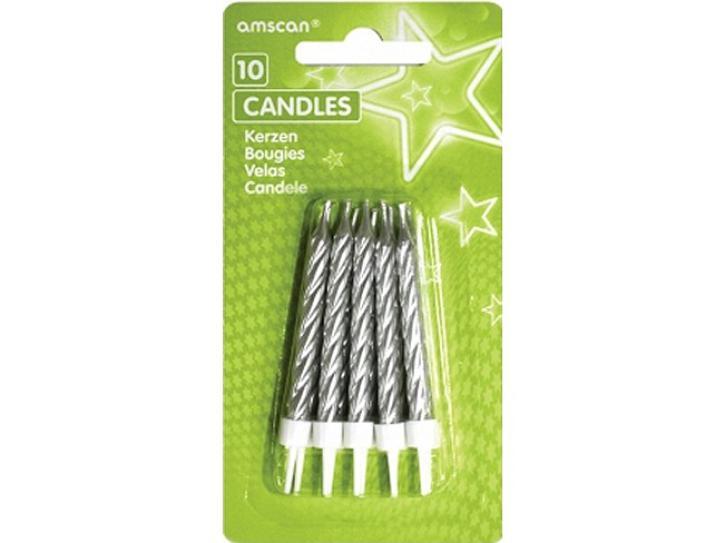 Kerze silber mit Halter 10 Stk.