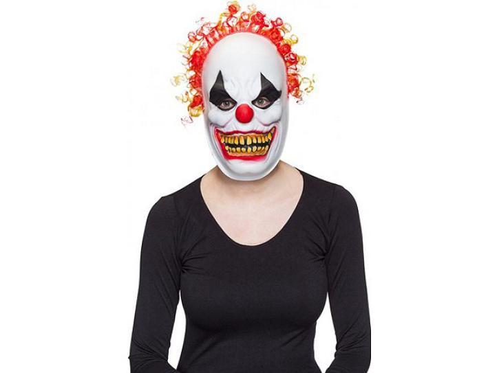 Maske Horror Clown mit Haaren