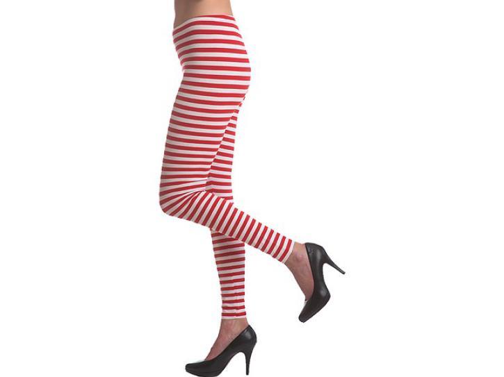 Leggings rot-weiß ringel Gr. L/XL