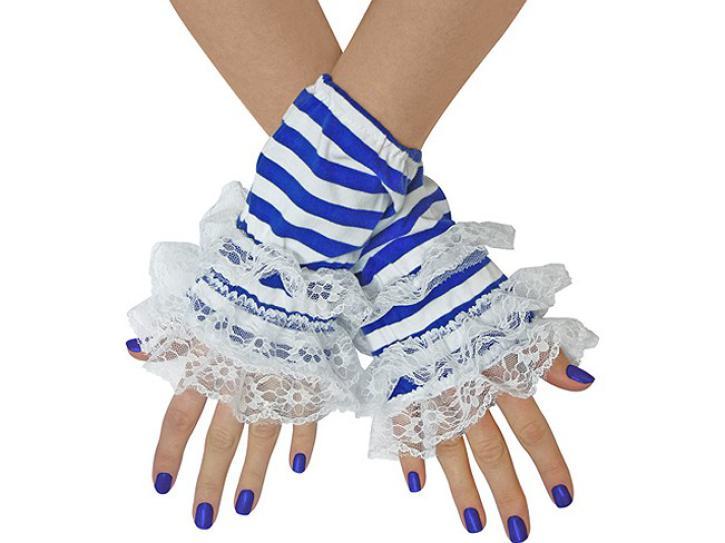 Handstulpen Ringel mit Spitze blau/weiß