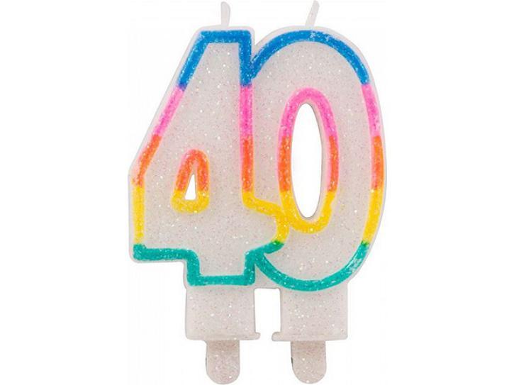 Zahlenkerze 40 mit Glitzer